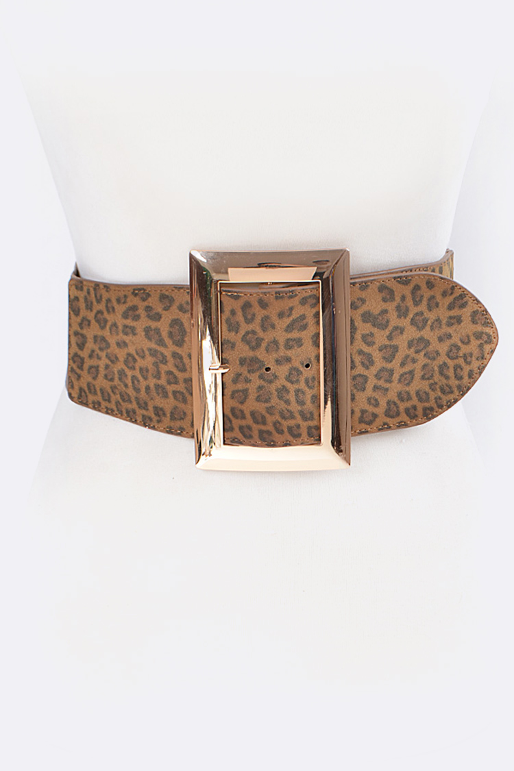 Leopard Printed Square Buckle Stretch Belt