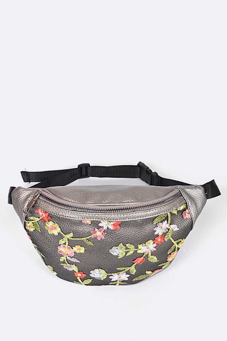 Flower Embroidery Waist Bag