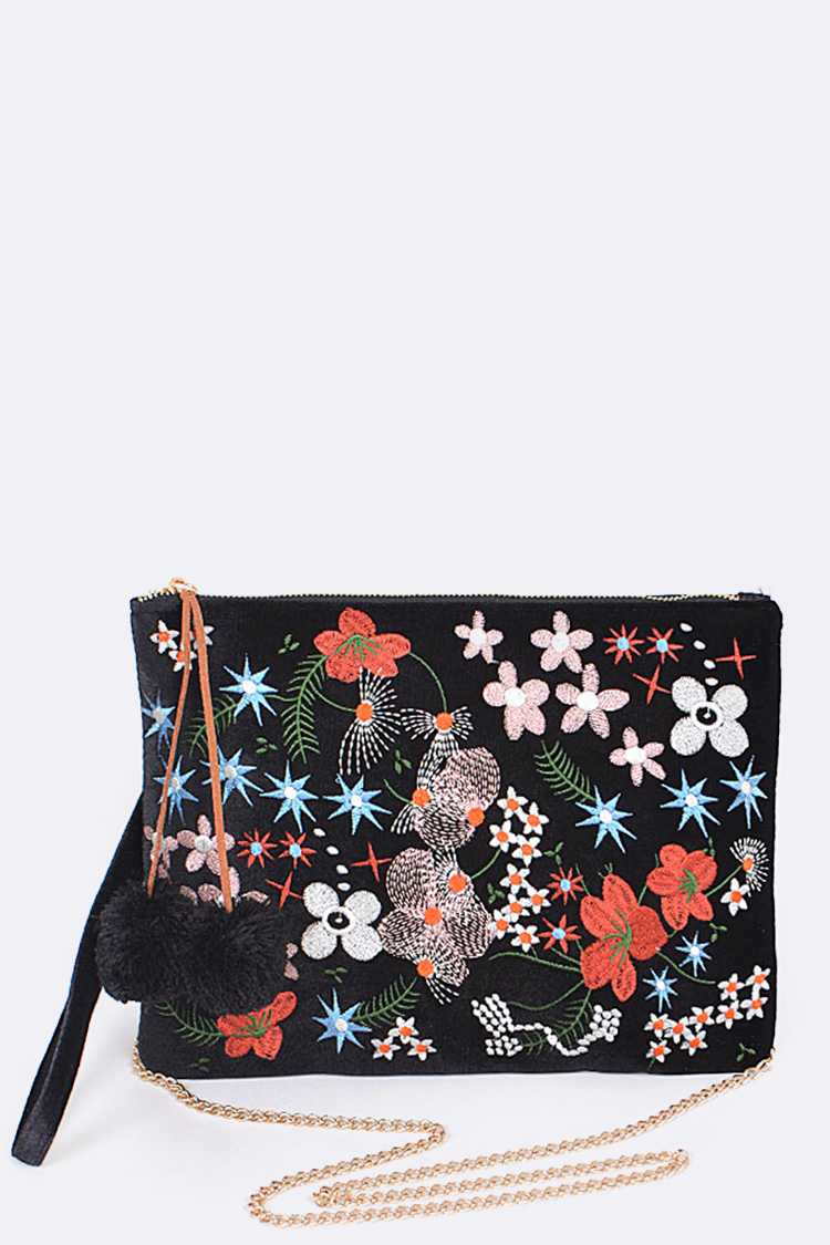 Floral Embroidery Convertible Pouch