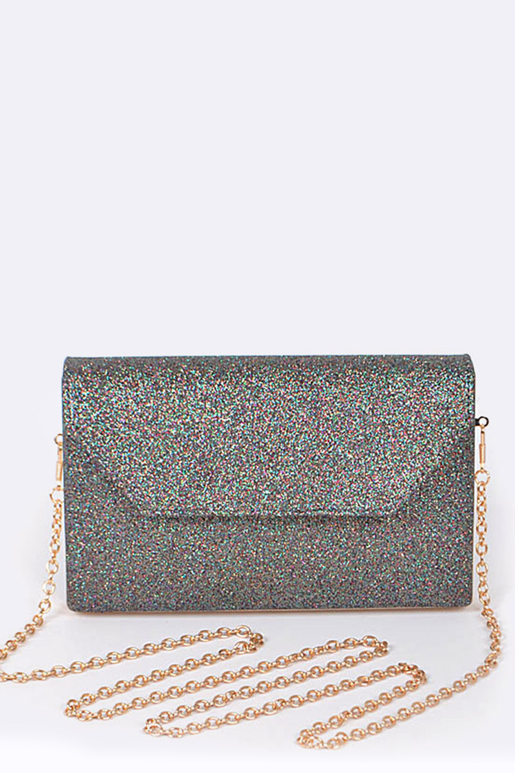 Glittered Structured Clutch Bag