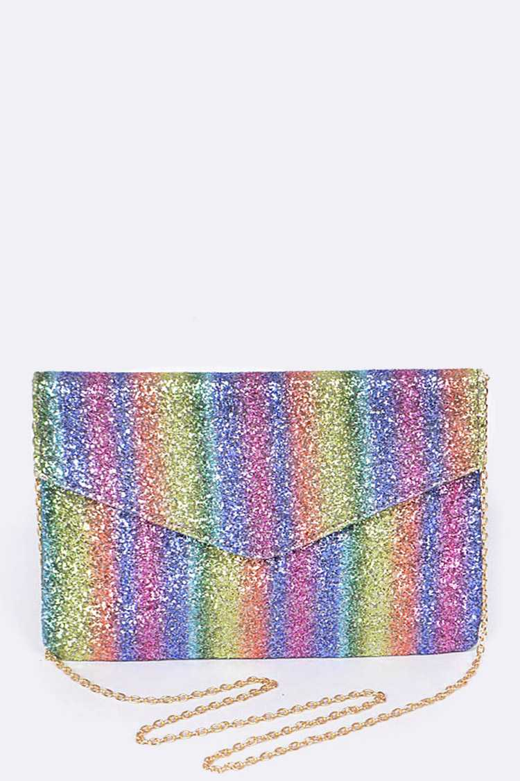 Rainbow Glittered Envelope Clutch