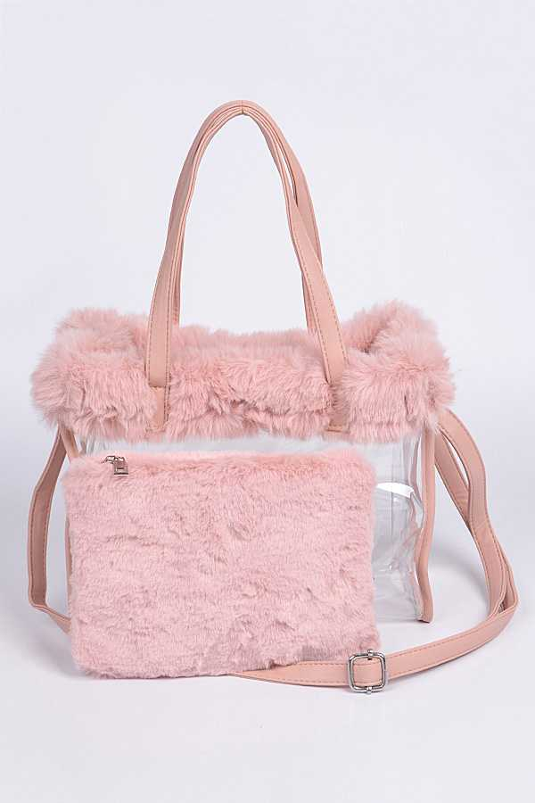 2 In 1 Faux Fur Cleared Tote Set
