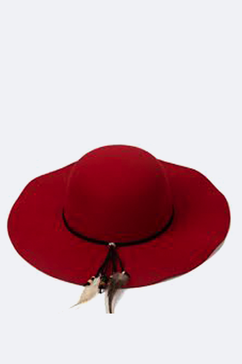 Bead & Feather Bow Felt Floppy Hat