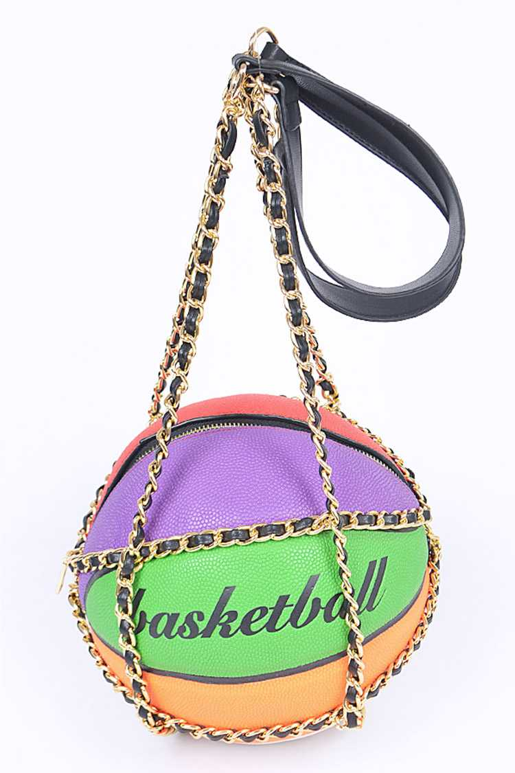 Mix Color Basketball Chain Strap Swing Bag