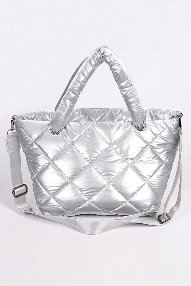 Metallic Quilted Puffer Nylon Tote