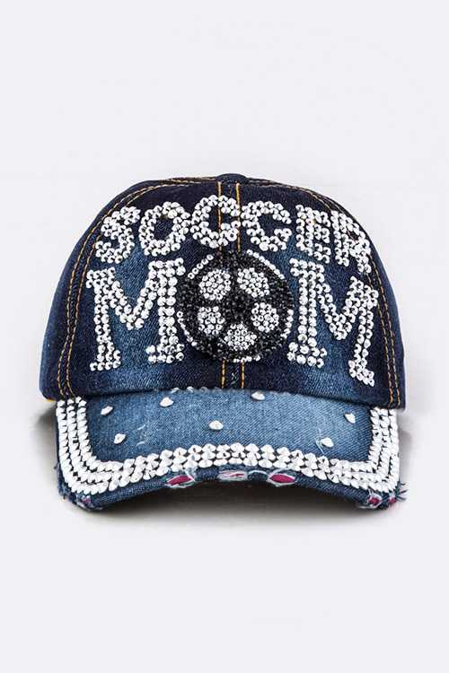 Crystal SOCCER MOM Embelished Fashion Denim Cap