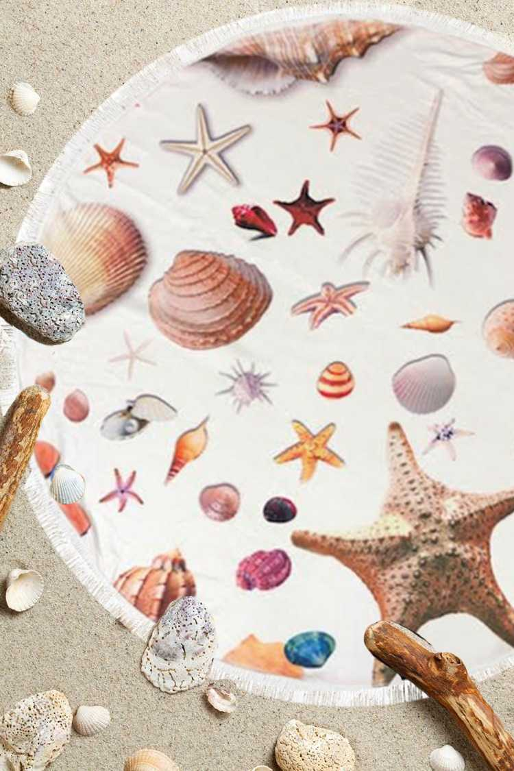 Sea Life Printed Round Terry Beach Towel