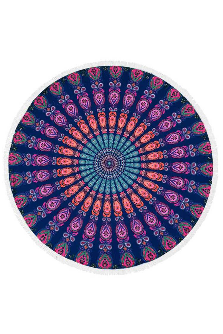 Mandala Print Fringe Terry Beach Towel
