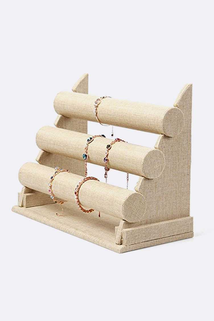 Linen Textured 3 Tiers Bracelet Display