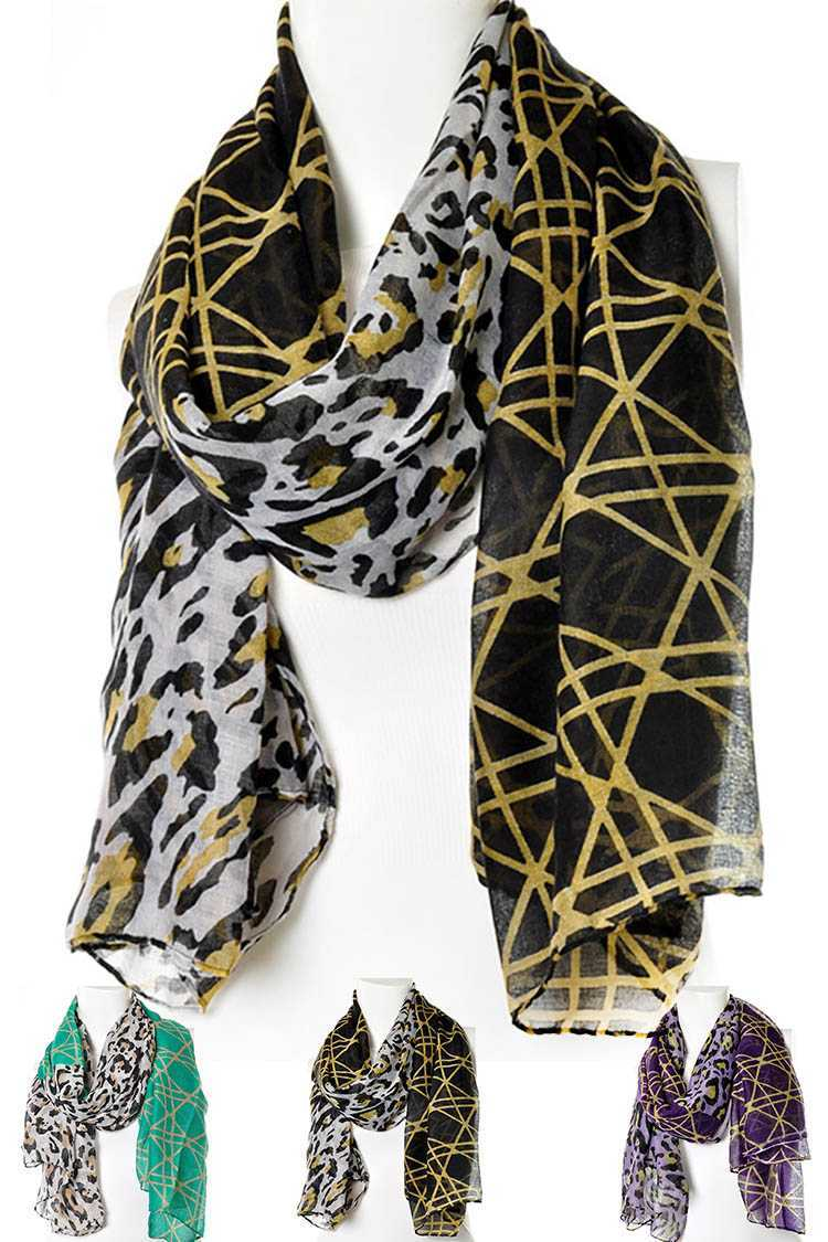 Geo Leopard 2 Tone Oblong Large Scarf