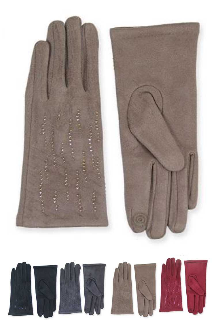 Crystal Accent Smart Touch Gloves