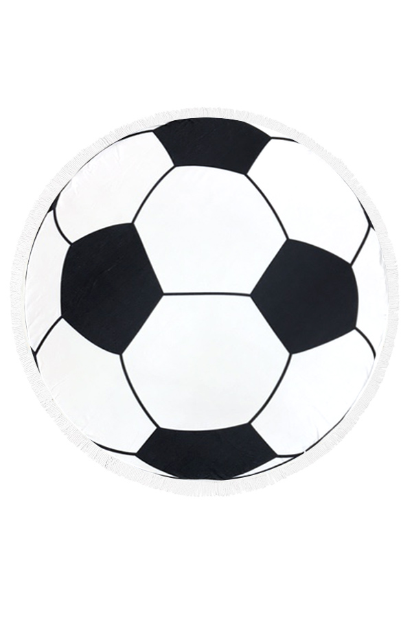Soccer Print Fringe Light Weight Round Throw