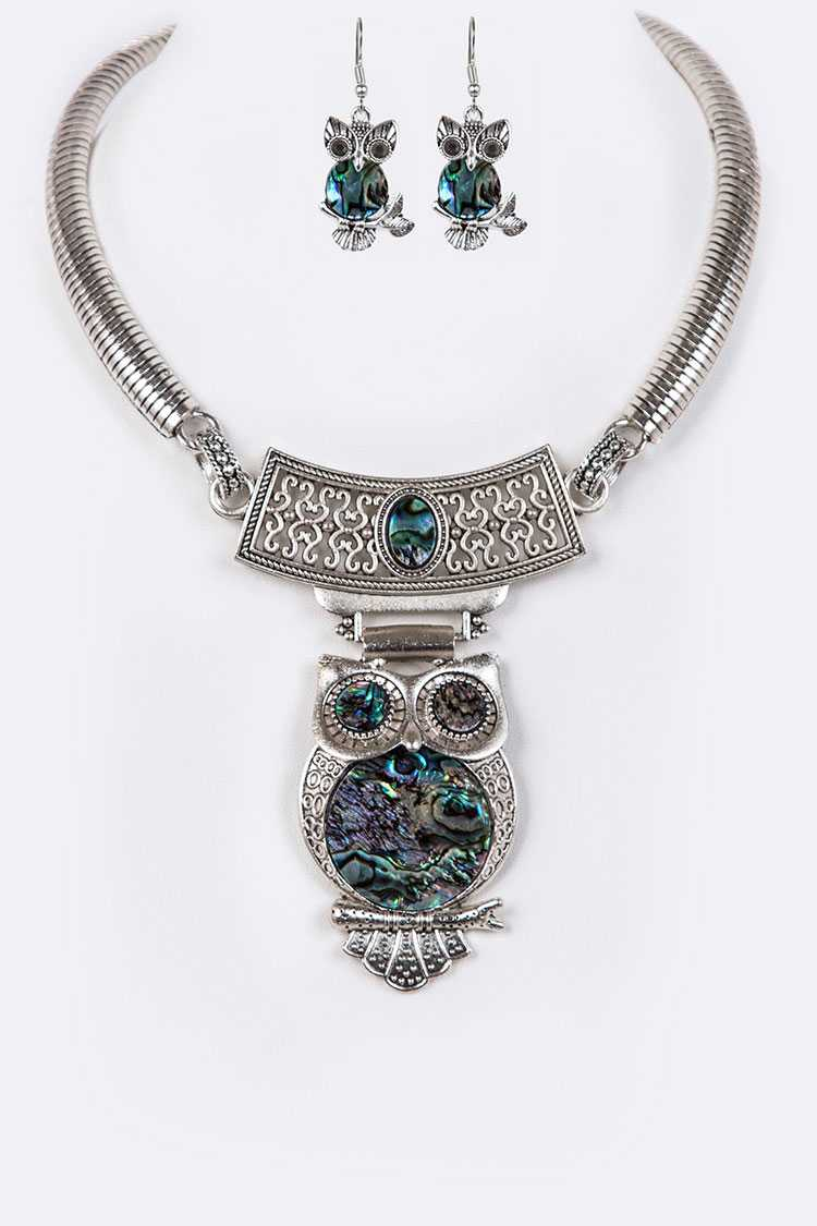 Abalone Iconic Owl Collar Necklace Set