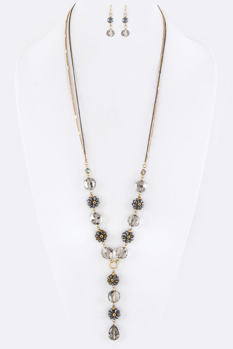 Crystal & Bead Flower Necklace Set