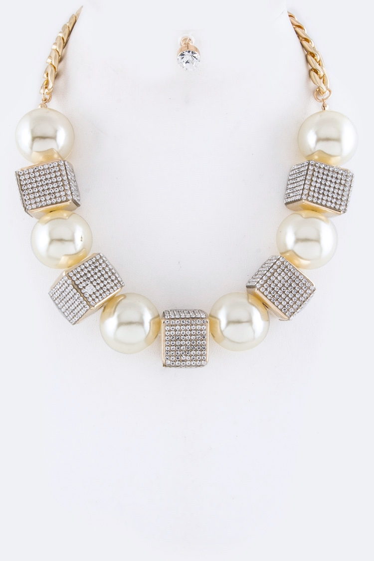 Gold Ball Crystal Cube Necklace Set
