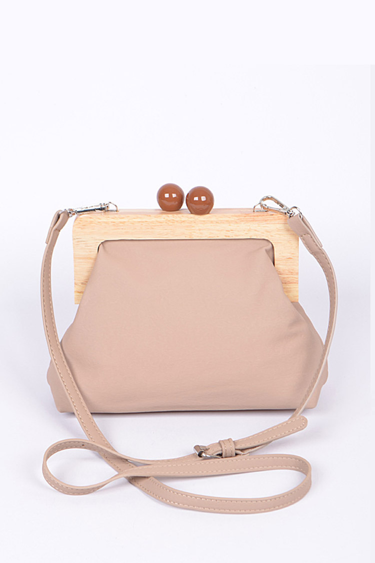 Wooden Clasp Iconic Soft Clutch Swing Bag