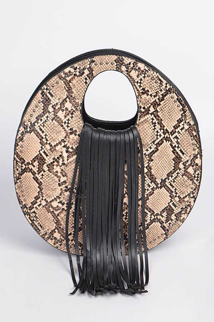 Python Snake Print Fringe Top Handle Structure Bag