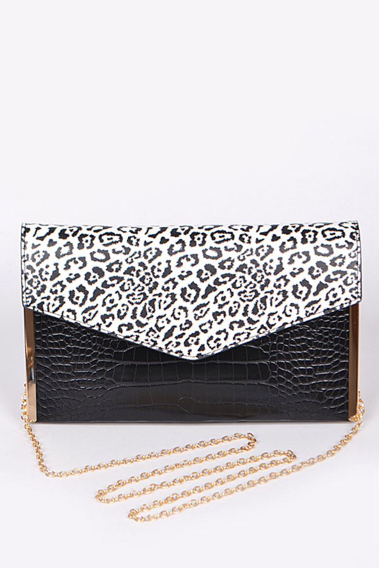 Croc Embossed Leopard Printed Envelope Clutch