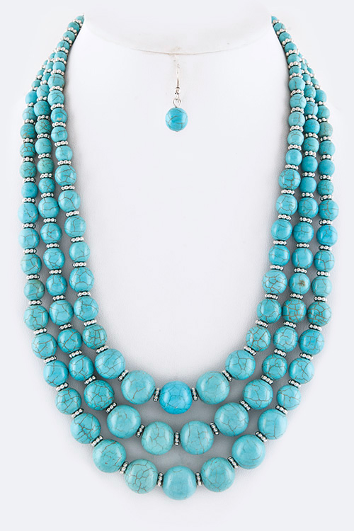 Turquoise Bead Layer Necklace Set