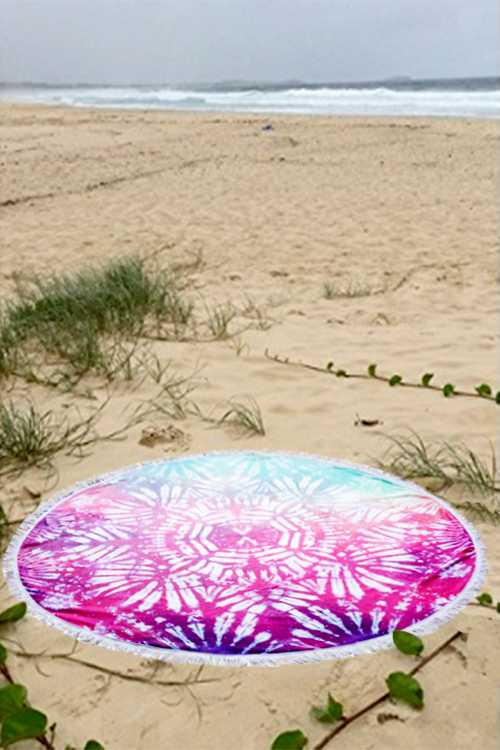 Tie Dyed Boho Terry Beach Towel