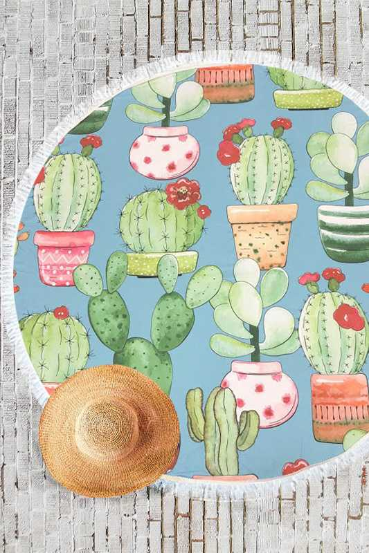 Cactus Terry Round Beach Towel