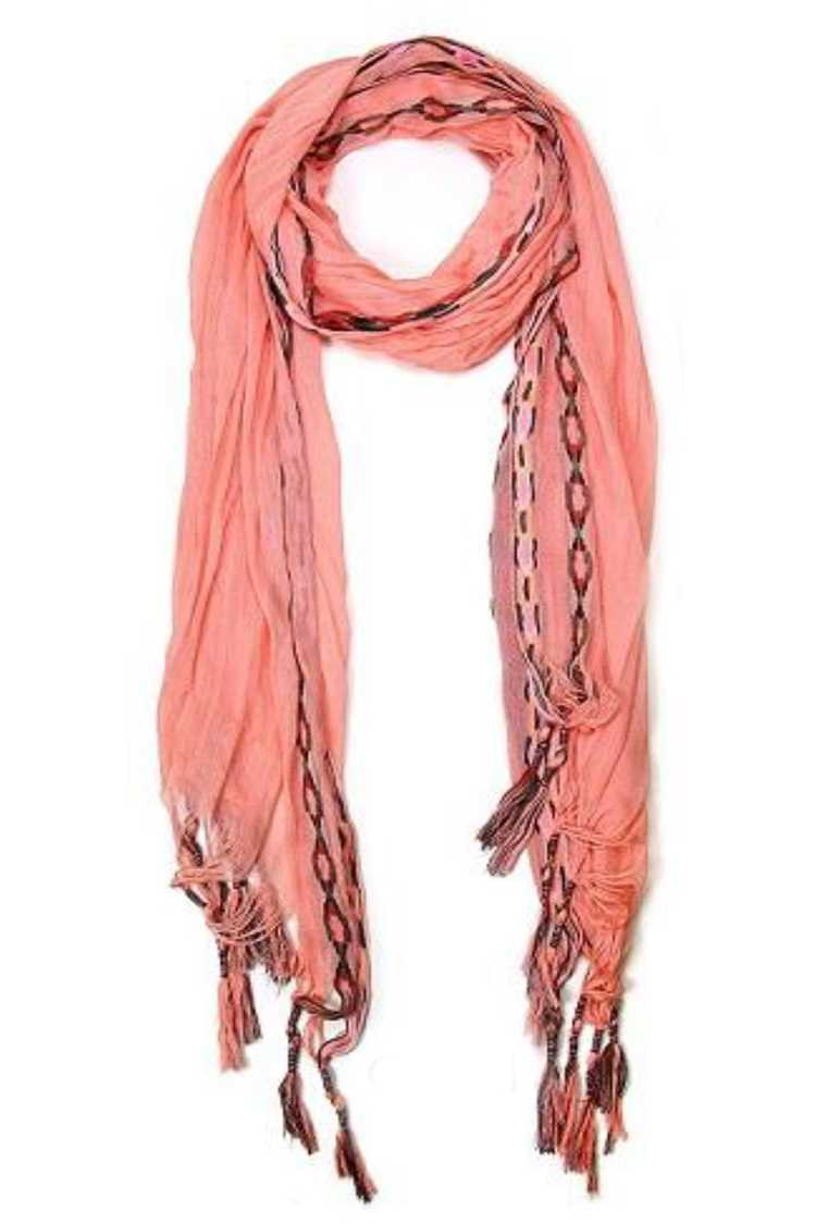 Embroidered Tassels Crinkle Fashion Scarf