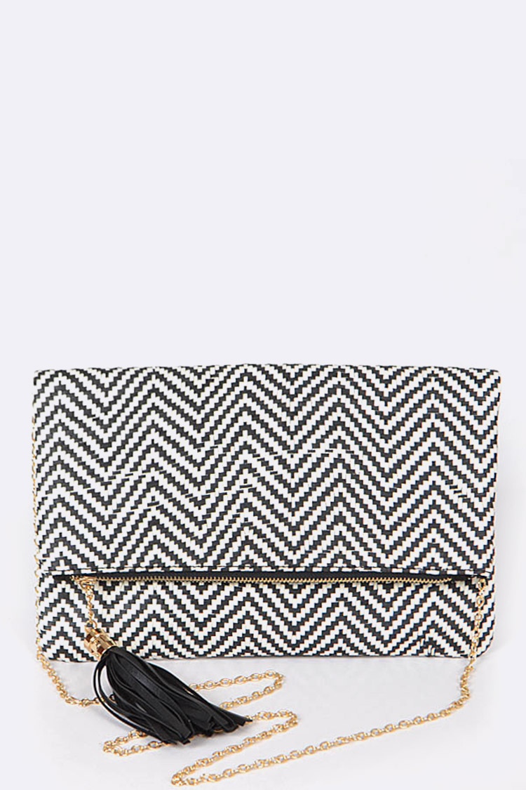 Weaved Textured Fold Over Clutch Bag