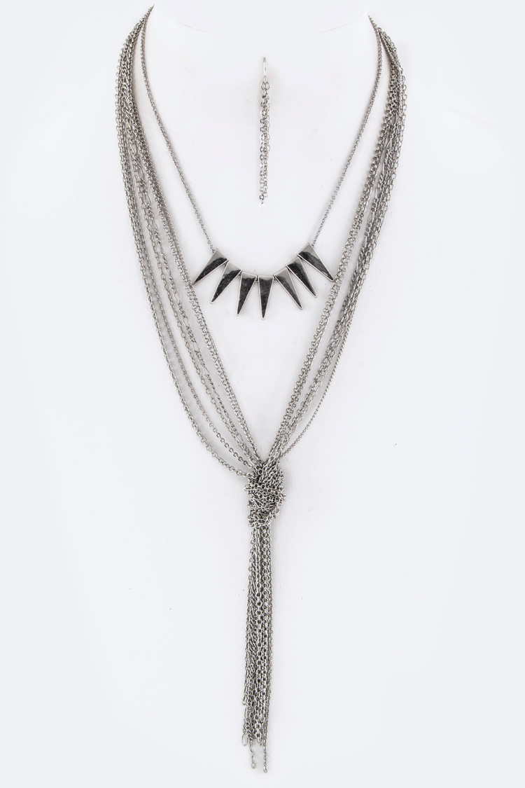2 In 1 Knotted Chain Arrow Convertible Necklace Set