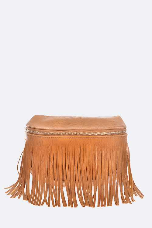 Fringe Leather Waist Pouch Bag