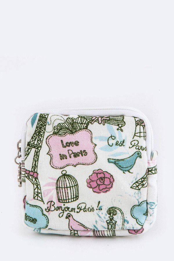 Love in Paris Canvas Pouch
