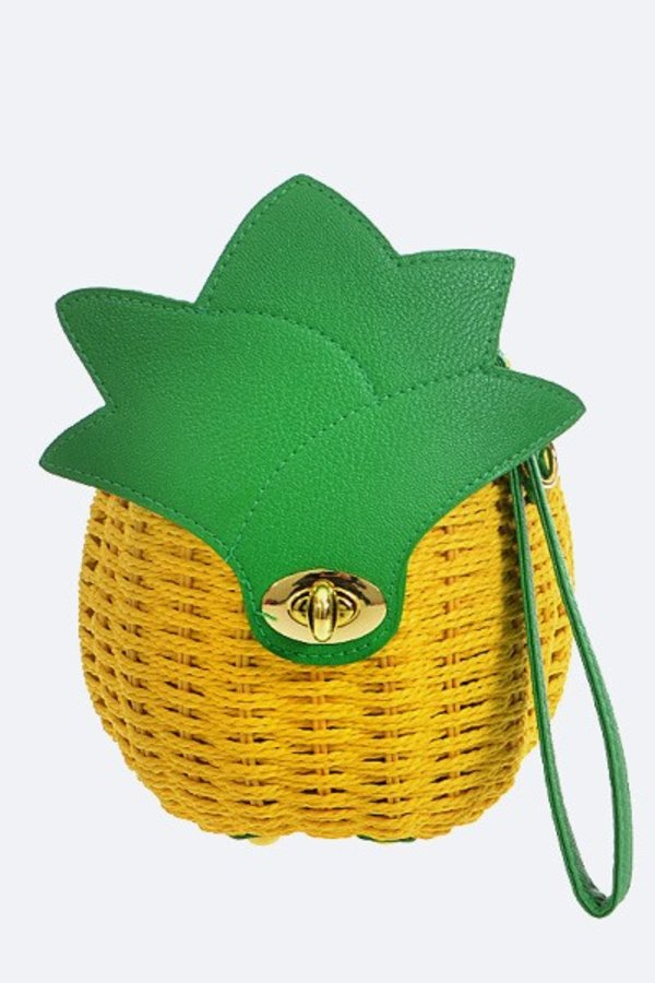 Iconic Pineapple Basket Weaved Swing Bag