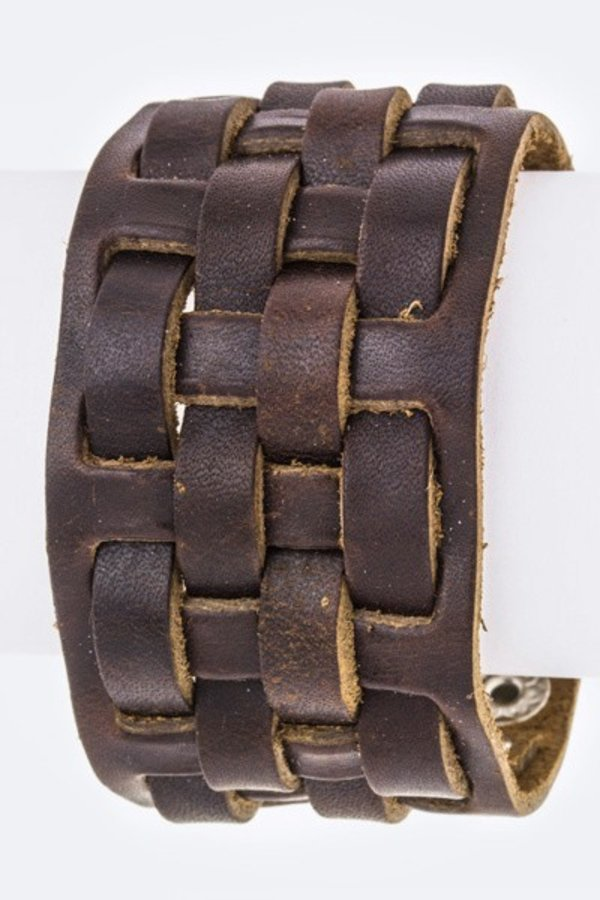Weaved Leather Iconic Cuff