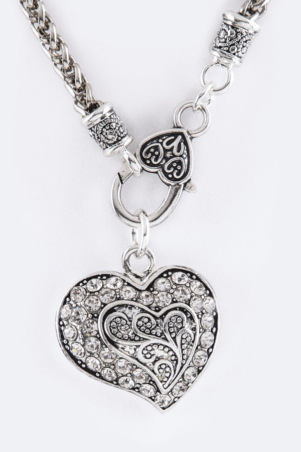 Crystal Swirl Heart Pendant Necklace Set