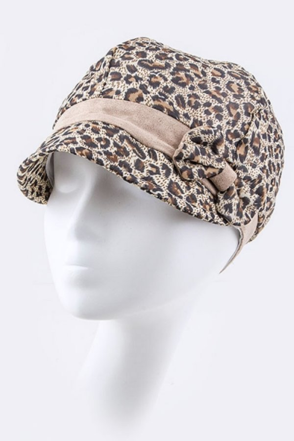 Leopard Print & Bow Fashion Hat