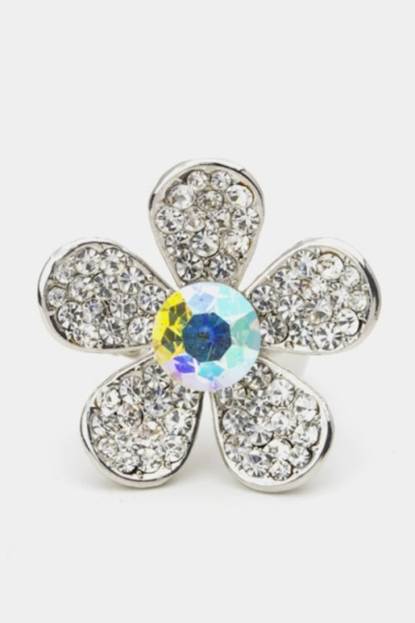 Crystal Daisy Flower Ring