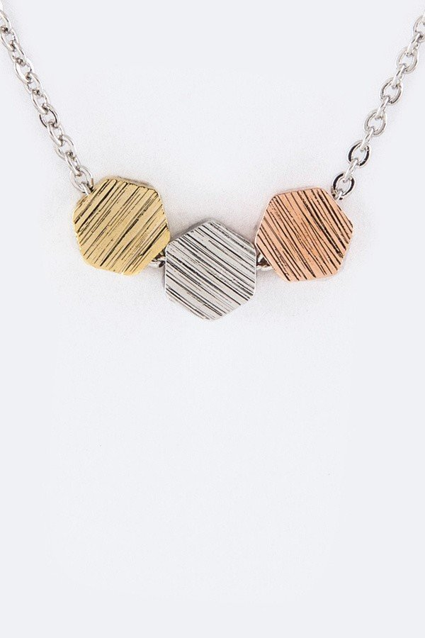 Petite Tri-Tone Slider Pendant Necklace