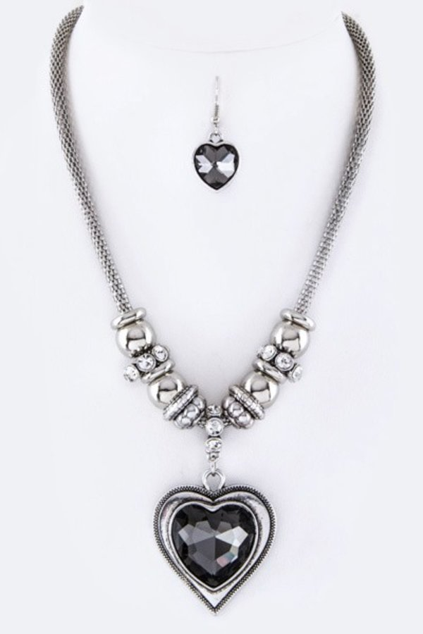 Heart Crystal Pendant Necklace Set