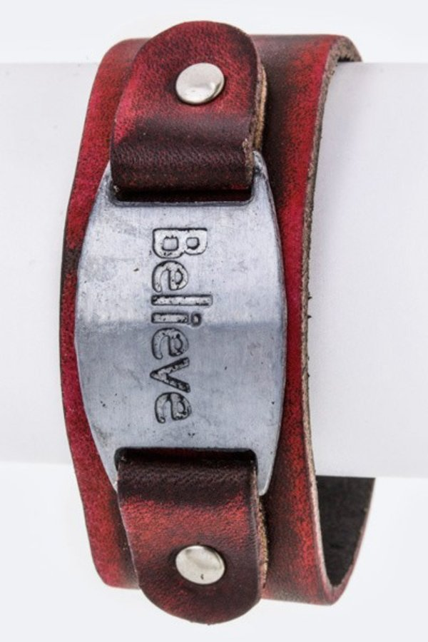 Believe Metal Tag Leather Cuff