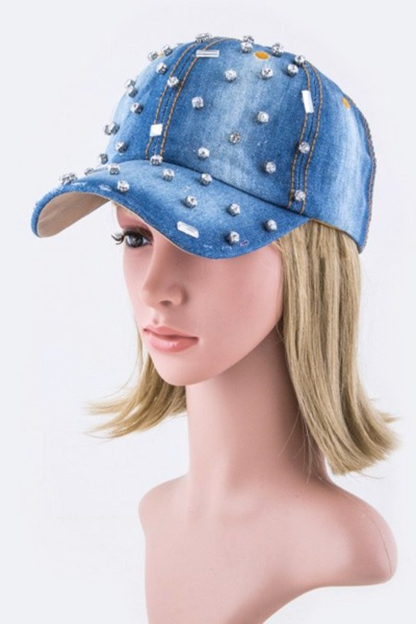 Mix Crystal Studs Fashion Denim Cap