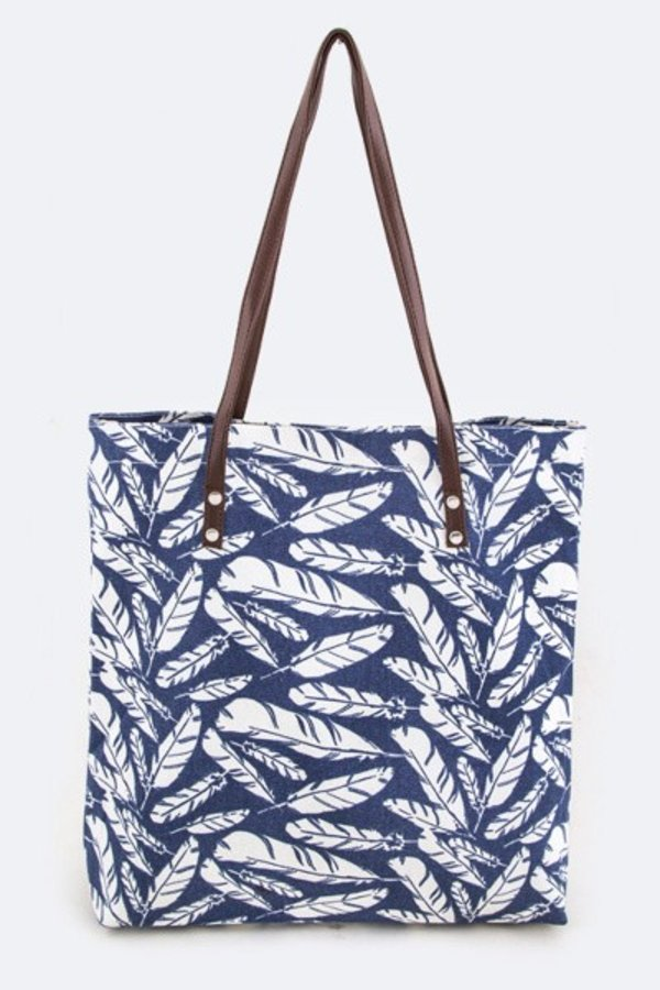 Feathers Pattern Fashion Canvas Tote