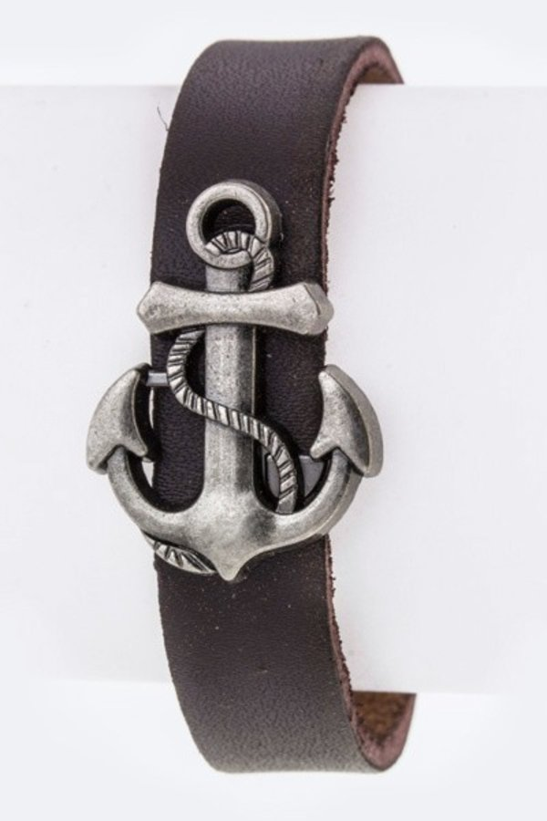 Anchor Charm Leather Cuff