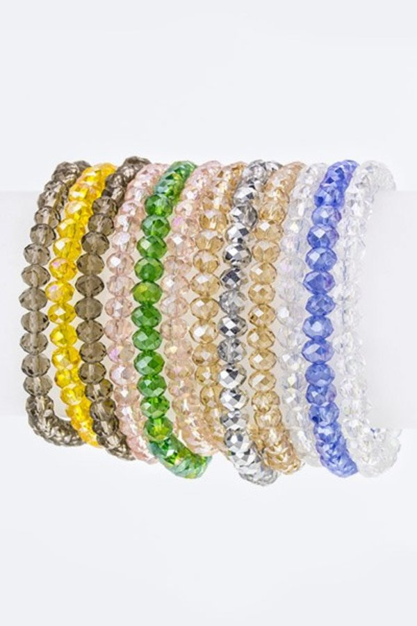 6 MM Crystal Beads Stretch Bracelet Set - M