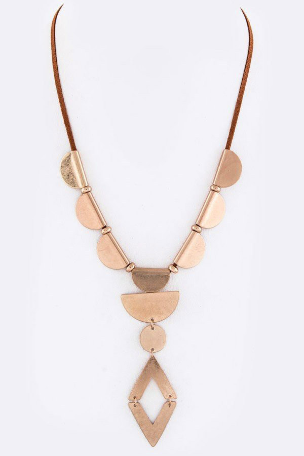 Metal Disks & Rhombus Pendant Necklace