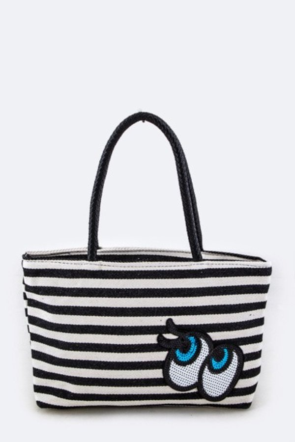 Sequins Eyes Strip Canvas Tote