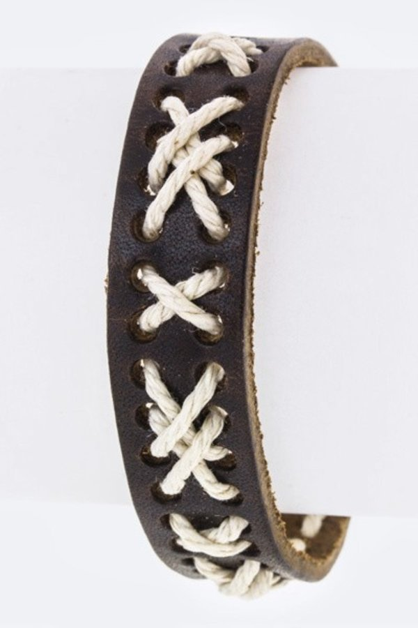 Laced Leather Buckled Cuff