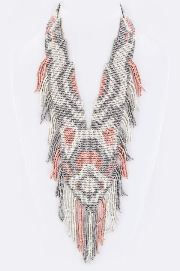 Fringe Beads Iconic Bib Necklace