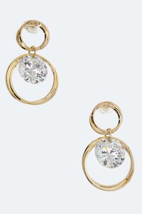CZ Overlapped Hoop Earrings