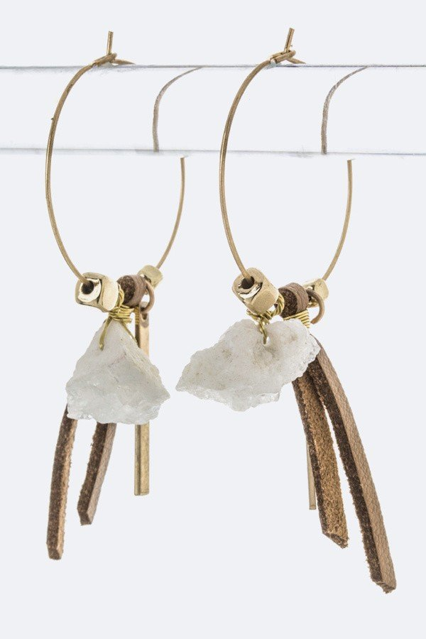 Quartz Mix Charm Dainty Hoops
