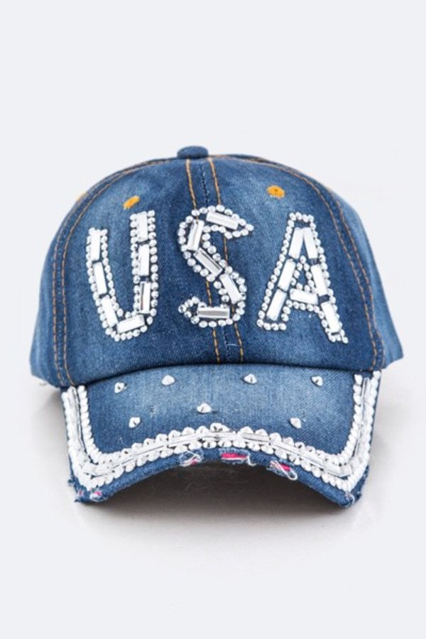 Crystal USA Embelished Denim Cap