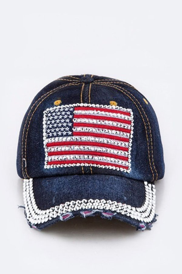 Crystal LOVE Embelished Fashion Denim Cap